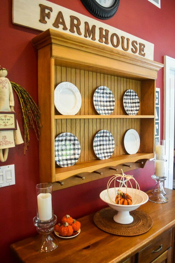 Pine Plate Rack Decorated For Fall