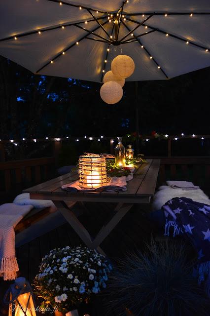 preeco ruokailuryhmä aurinkovarjo led terassi pihasisustus terassikalusteet illanistujaiset sisustetta verkkokauppa syksy syyskesä ilta pimeä