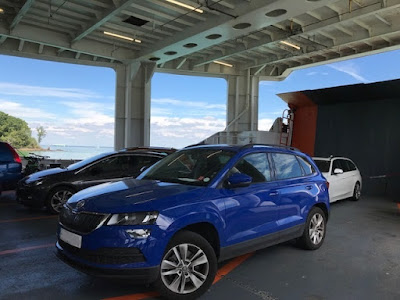 Car inside a car ferry