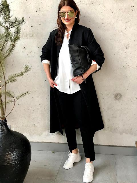 Jeden klasyczny czarny wełniany płaszcz * 6 stylizacji