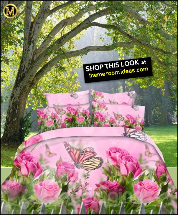 fButterfly and Pink Roses Printed Cotton 4-Piece Bedding  loral bedding flower bedding garden bedding tree wallpaper mural