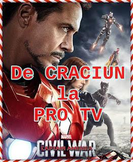 pro tv program 23 24 25 decembrie 2018 cu filmul captain america civil war