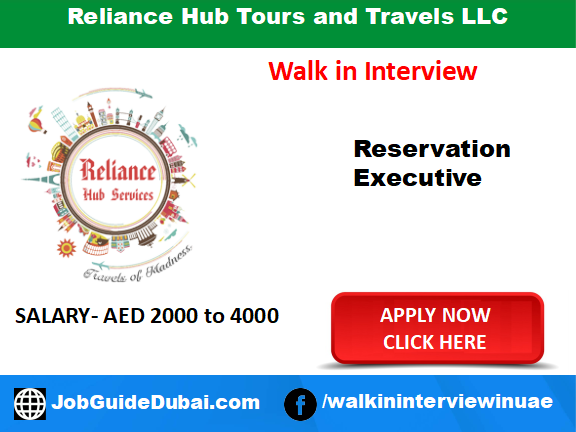 Reliance Hub Tours and Travels LLC career for reservation executive job in Dubai