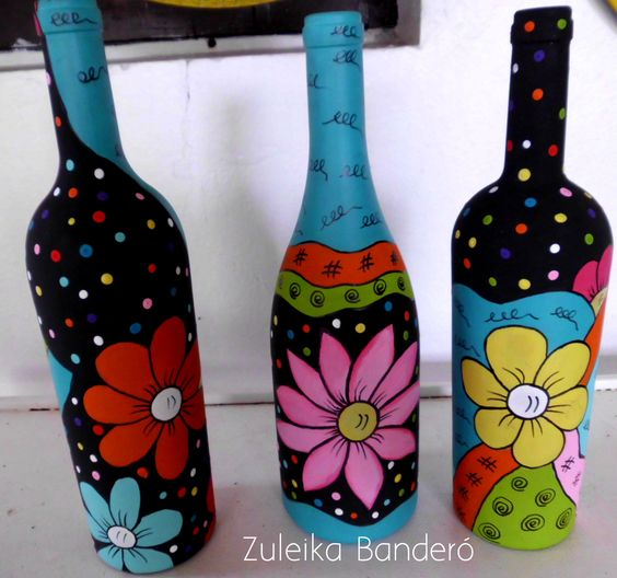 Mi Fiesta Creativa Como Decorar Botellas Con Disenos Coloridos - Decorar-botellas