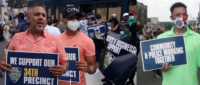 VIDEO: Comerciantes y residentes dominicanos apoyan al NYPD en manifestación frente a cuartel en el Alto Manhattan