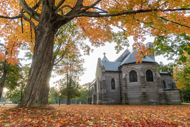 Portland, Maine USA October 2020 photo by Corey Templeton. Autumn at Wilde Memorial Chapel  at Evergreen Cemetery.