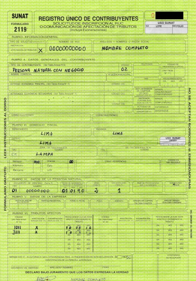sunat formulario 2119