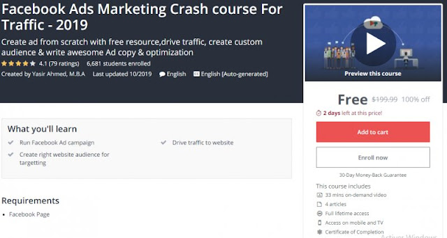 [100% Off] Facebook Ads Marketing Crash course For Traffic - 2019| Worth 199,99$