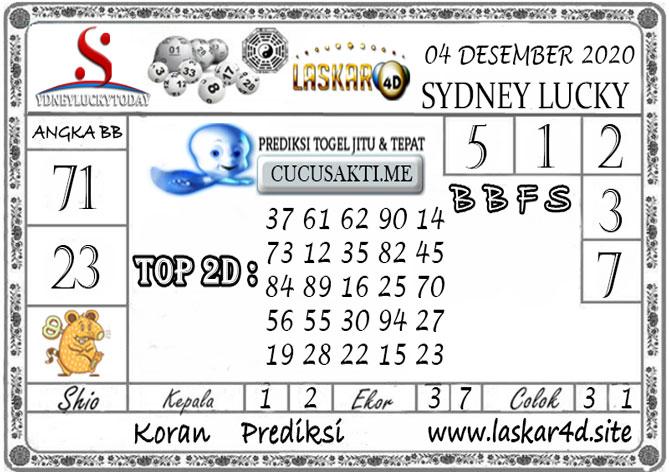 Prediksi Sydney Lucky Today LASKAR4D 04 DESEMBER 2020