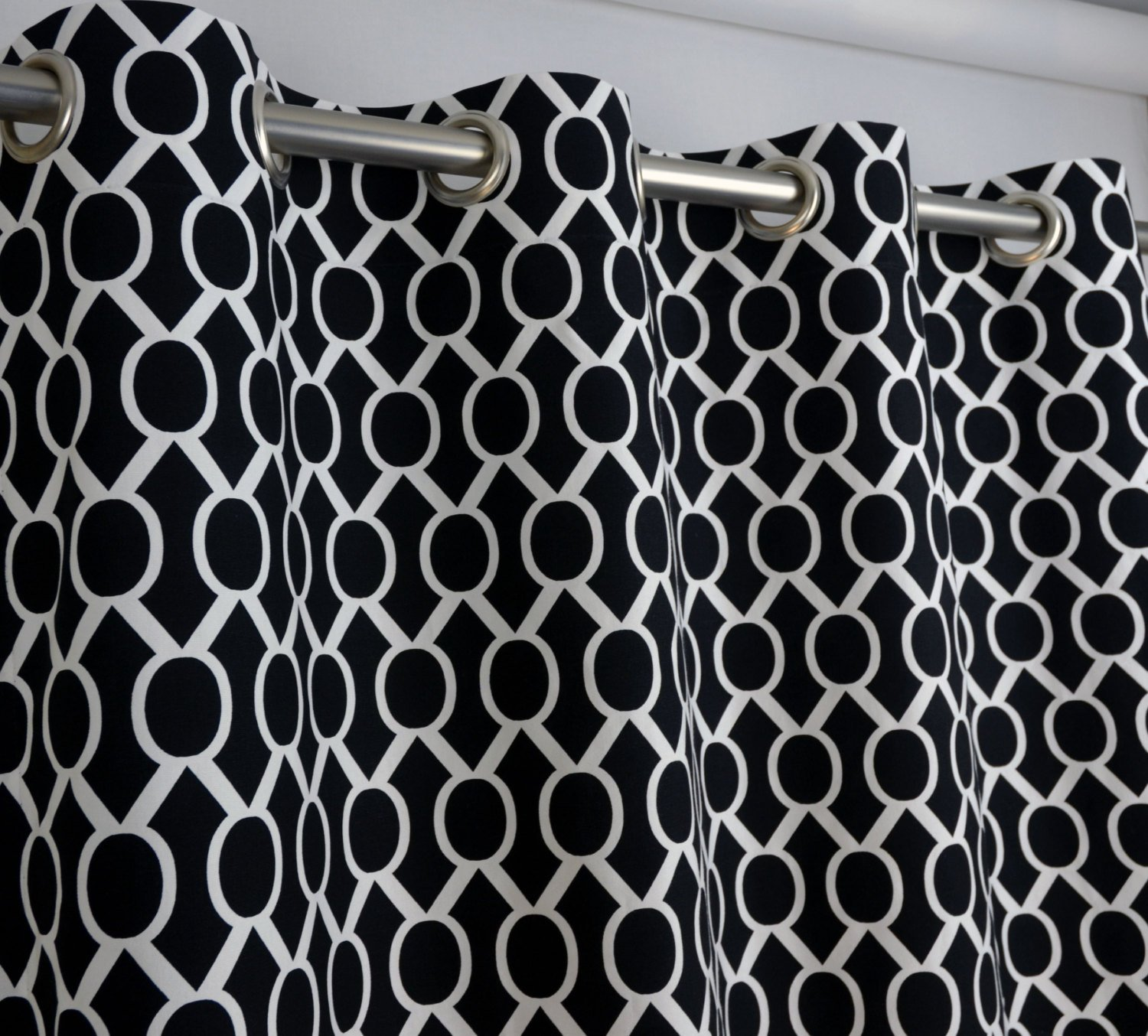 Modern Black And White Geometric Themed Bedding And Curtains