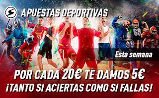 sportium Promo Multideporte: Por cada 20€ Te damos 5€ hasta 26 julio 2020