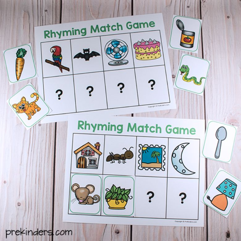 printable games for kids - rhyming match game