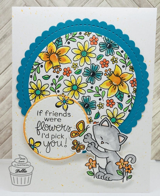If friends were flowers, I'd pick you! features Floral Roundabout, Circle Frames, and Newton's Flower Garden by Newton's Nook Designs; #newtonsnook, #cupcakeinspirations