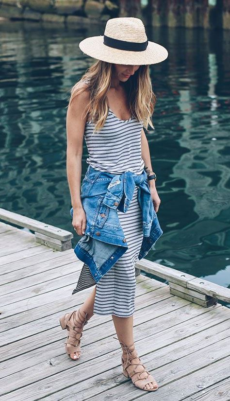 casual outfit inspiration / hat + denim jacket + striped dress + sandals