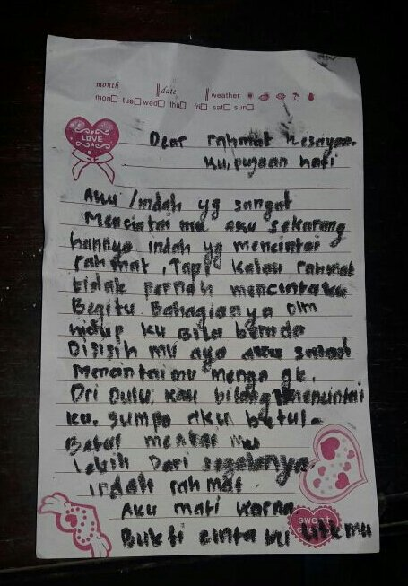 "Gadis Belia Br Siregar ini Tulis Surat Sebelum Gantung Diri: ""Aku Mati Karna Bukti Cintaku Utkmu"""