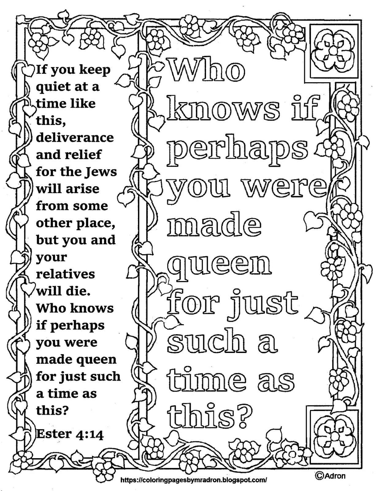 Coloring Pages For Kids By Mr Adron Ester 4 14 Print And Color Page Perhaps You Were Born For Such A Time As This Bible Verse