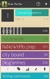 "A screenshot of multicolored bars reading ""Copy"", ""housework"", ""NaNoWriMo prep"", ""city bound"", ""blog entries"" and ""Writing submissions"" with numerical values on the far right. The blog entries bar is expanded to show a menue with the following items from left to right, the number 2, a tag igon, three bars going from smallest to largest, a writing icon and an upwards pointing arrow"