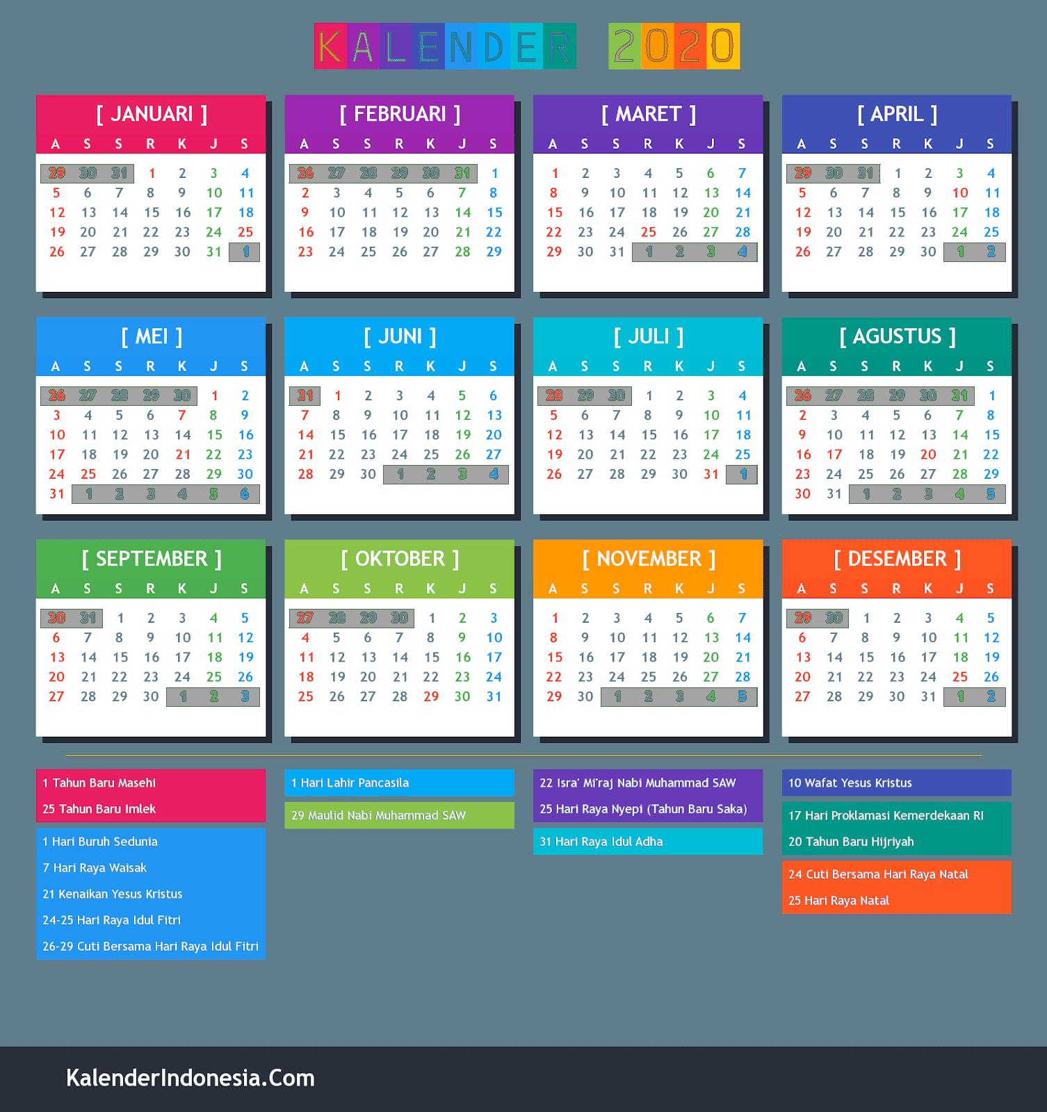 Kalender Indonesia Tahun 2020 Kalender Indonesia