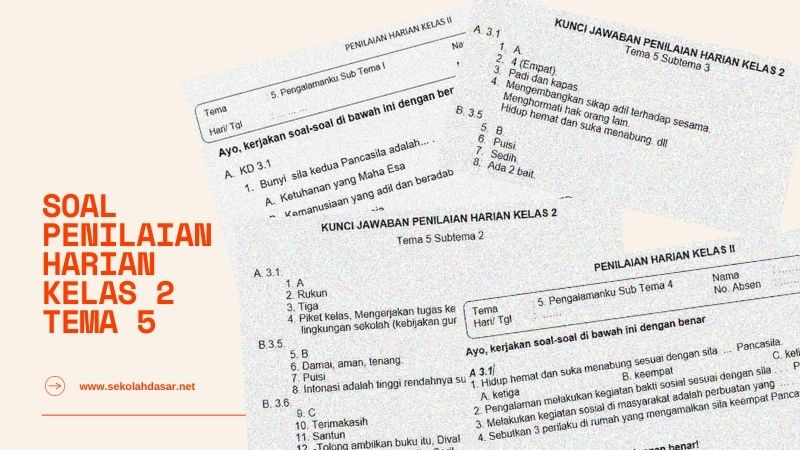 Soal Penilaian Harian Kelas 2 Tema 5 dan Kunci Jawaban