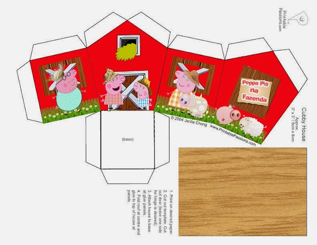 Peppa Pig at the Fram: House shapped Free Printable Box.