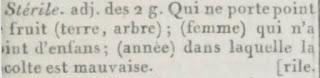 Extrait du Petit Dictionnaire de l'Académie Française : stérile
