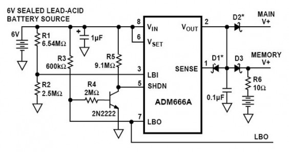 Low Battery Disconnect and Memory Backup Circuit in the ADM666A Application Note
