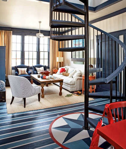 navy blue floor paint idea