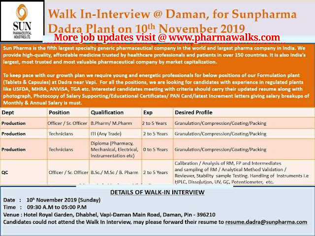 Sun Pharma - Walk-in interview for Production & QC Departments on 10th November, 2019