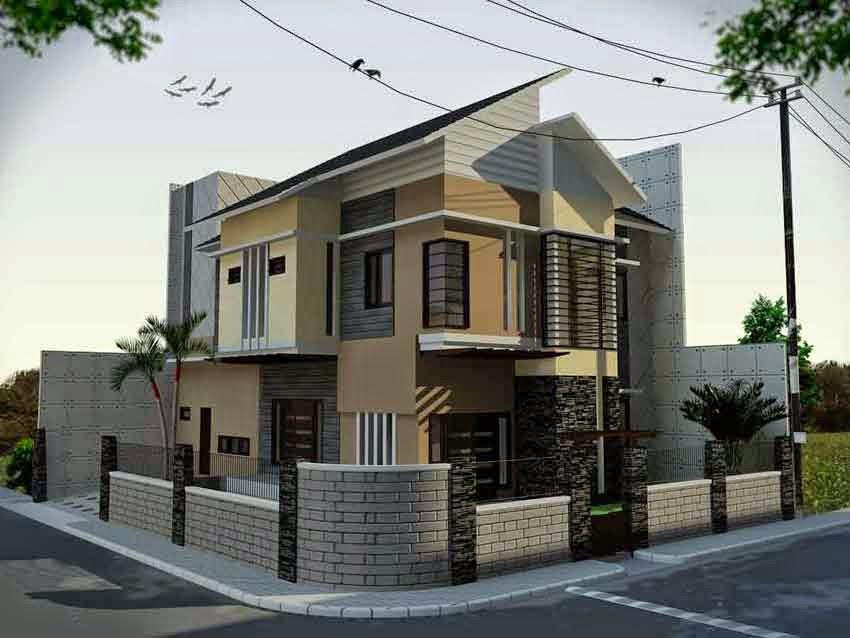 Desain Rumah Hook Berlantai 2 Minimalis modern