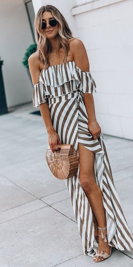 beautiful outfit idea / striped maxi dress + bag + nude heels