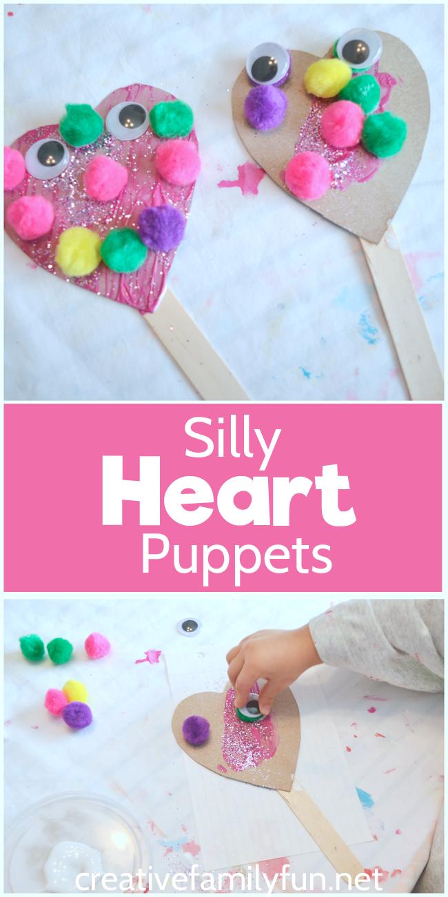 SillyHeatPuppets1Collage - Valentines Day Crafts For Kindergarten