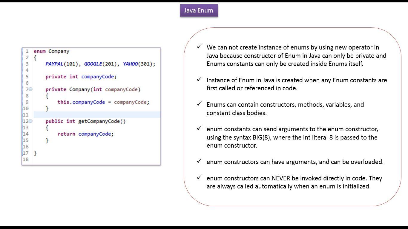 Java ee java tutorial enum in javahow to define a constructor java tutorial enum in javahow to define a constructor and method in enum company baditri Gallery