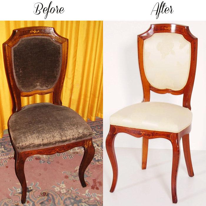 Restauro e tappezzeria sedie antiche vecchie before after for Sedie antiche rimodernate