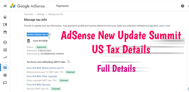 How to Submit United State Tex Info on google Adsense 2021 update ?