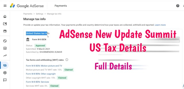 How to Submit United State Tex Info to google Adsense 2021 update ?