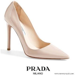Queen Letizia wore Prada Capretto Leather Pointed Toe Pumps