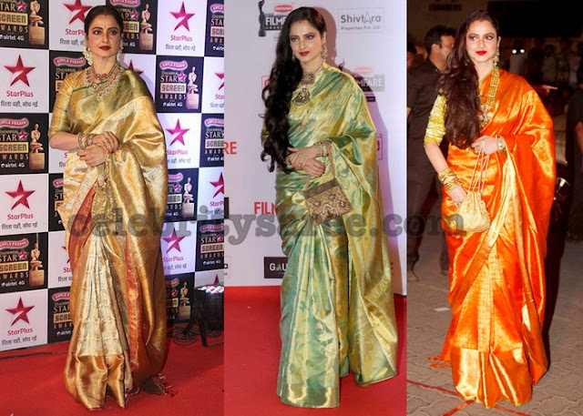 Rekha in Traditional Kanjeevaram Silk Saris