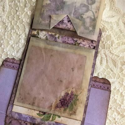 Sara Emily Barker https://sarascloset1.blogspot.com/2019/05/mini-album-tour-featuring-stamperia.html Stamperia Lilac Flowers Tim Holtz Entomology Lace Baseboard Frames Mini Album Tour 25