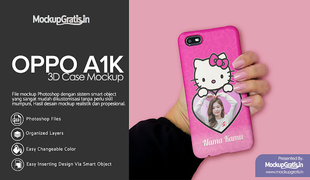 PSD Mockup Custom Case 3D Oppo A1K Gratis