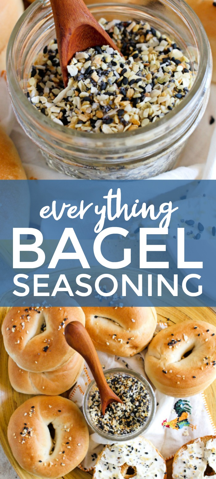 Everything Bagel Seasoning is a simple seasoning blend that is for so much more than bagels. You will want to sprinkle it on everything! #seasoningmix #spicemix #everythingbagel