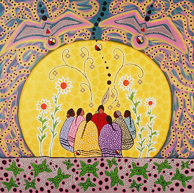 Talking Circle Medicine (2005) by Leah Dorion. 7 women in a talking circle, with flowers around.