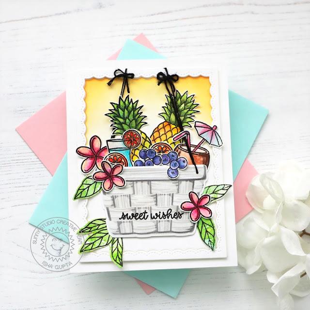 Sunny Studio Stamps: Layered Basket Tropical Paradise Pink Peonies Card by Isha Gupta