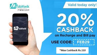 expired mobikwik get 20 cashback on recharges bill