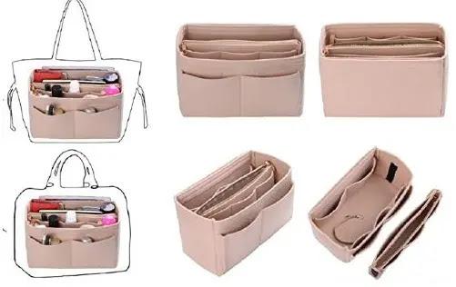 8-ZTUJO Purse Organizer Insert, Felt Bag organizer with zipper