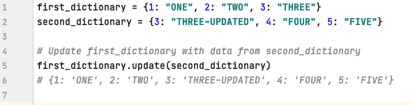 Dictionary update method in Python