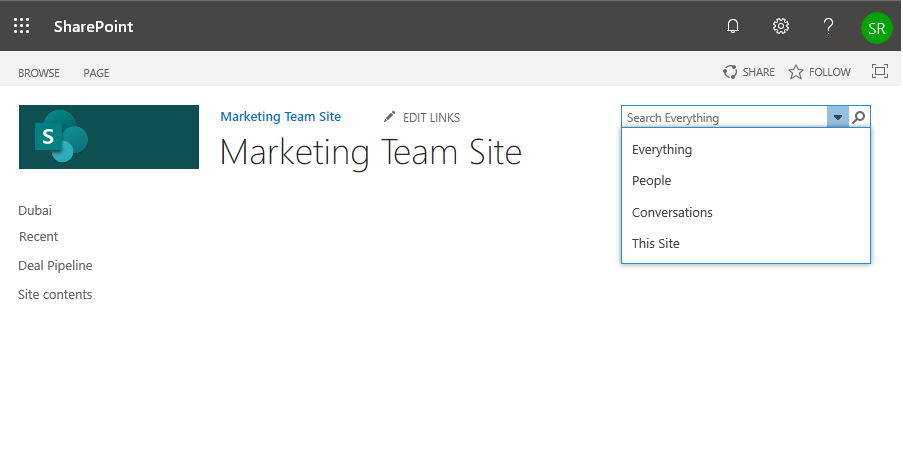 sharepoint online configure search navigation