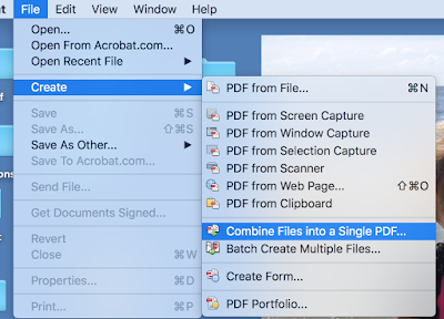Open Acrobat Pro and select Create and then Combine Files into a Single PDF.