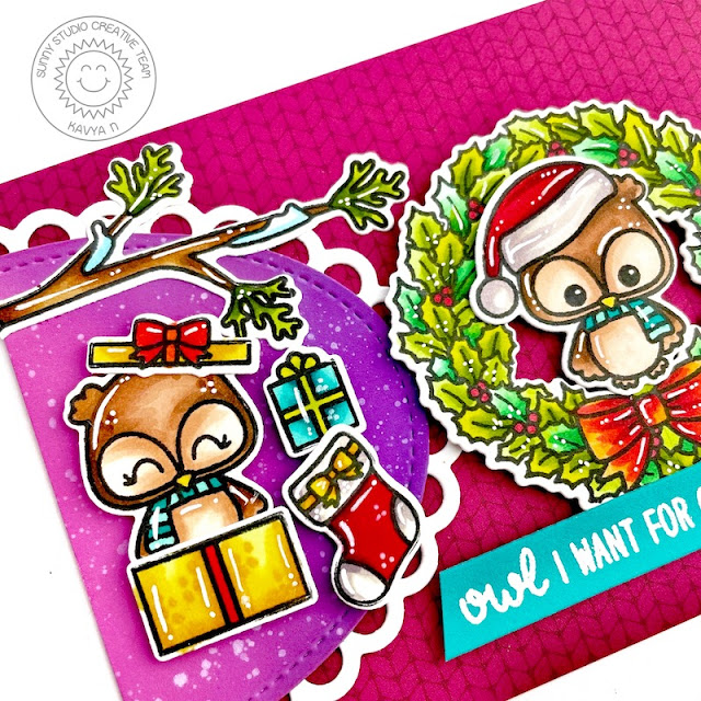 Sunny Studio Stamps: Stitched Oval Dies Happy Owlidays Christmas Card by Kavya