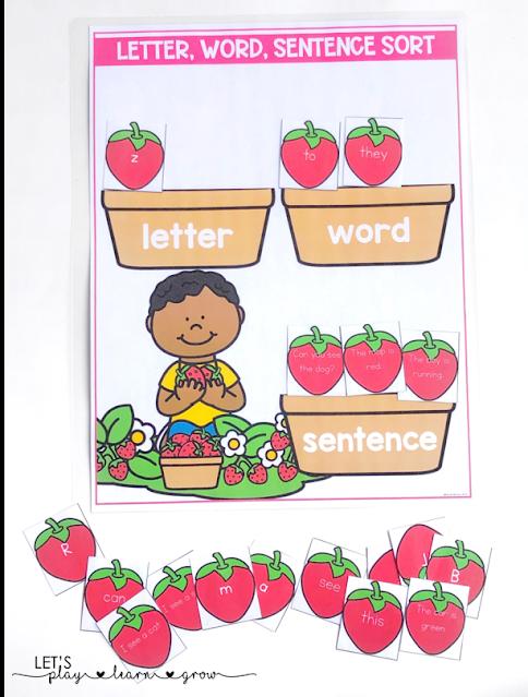 Strawberry Letter, Word, Sentence Sort