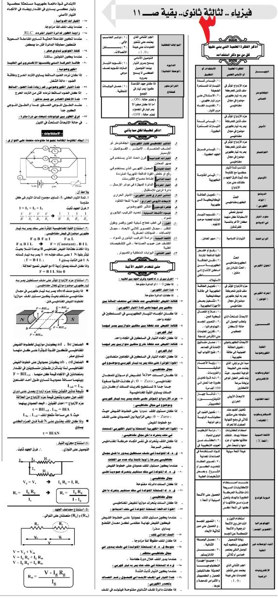 مراجعات وتوقعات امتحان الفيزياء للثانوية العامة - ملحق الجمهورية 3